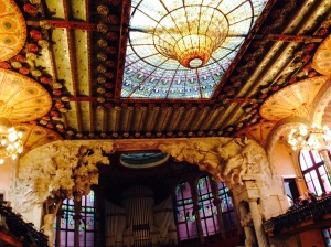 The sun shines through the ceiling of the Palau de la Musica Catalanya...