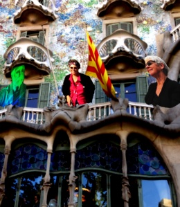 Adjourning to the terrace, Casa Battlo with guide