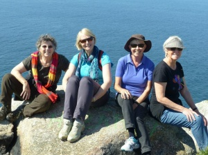 Where land ends in Spain: Finisterre, (from left Annie, Alison, Monica, Janet)