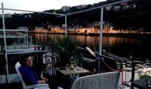 On deck in twilight