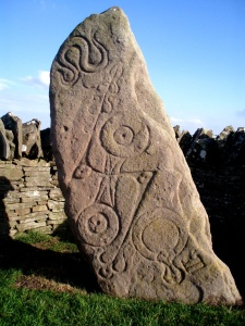 The Aberlemno Serpent Stone, Class I Pictish stone, showing (top to bottom) the serpent, the double disc and Z-rod and the mirror and comb - Wikipaedia