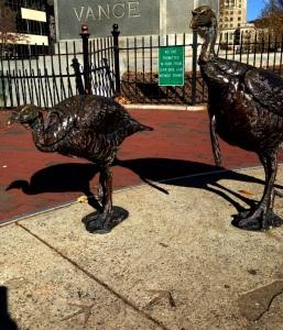 Turkeys, safe in bronze as Thanksgiving nears