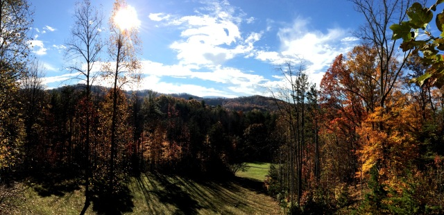Late fall morning view from balcony across Buffalo Valley golf Course to the Smoky Mountains of Cherokee National Park