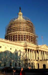 The mighty US Capitol....undergoing de-rusting