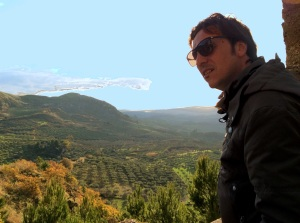 Vincenzo, minus moustache, overlooking the family's small olive farm, Lucca
