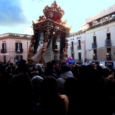 Madonna del Soccorso being carried from the church for her annual passagiata around the city streets