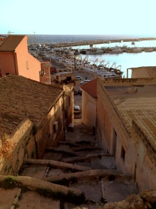 """Steps down to the Port from the main square -  """"the Lounge Room"""""""