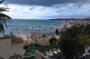 """View to the port from """"The Lounge Room"""" the public square - Piazza Scandaliato"""