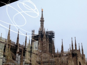 Duomo di Milan through window of Museum of Modern Art